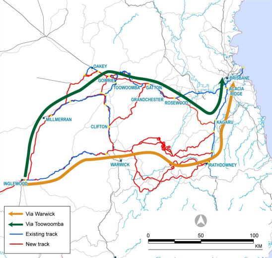 Possible routes as shown in an ARTC report.