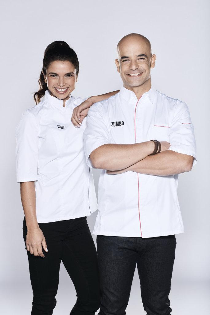 Gigi Falanga and Adriano Zumbo star in the TV series Zumbo's Just Desserts.