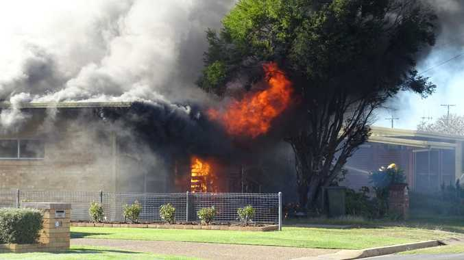 A fire has destroyed a house on Peatey St, Kepnock. Photo: Ben Turnbull