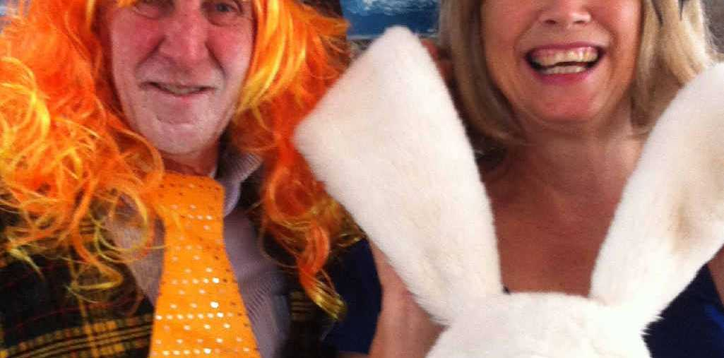 MAD HATTER: Rogin Taylor and Patricia Burgess at the Mad Hatter's lunch for the women of Proserpine ESA.