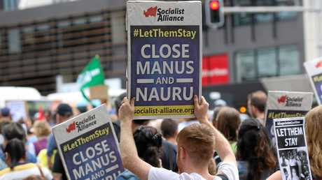 AUSTRALIA, Sydney: Thousands of Australian have taken to the streets during a protest demanding that refugees not be send back to Nauru or Manus Island on March 20, 2016 in Sydney, Australia. (AAP Image/NEWZULU/Richard Milnes). NO ARCHIVING, CROWD SOURCED CONTENT, EDITORIAL USE ONLY