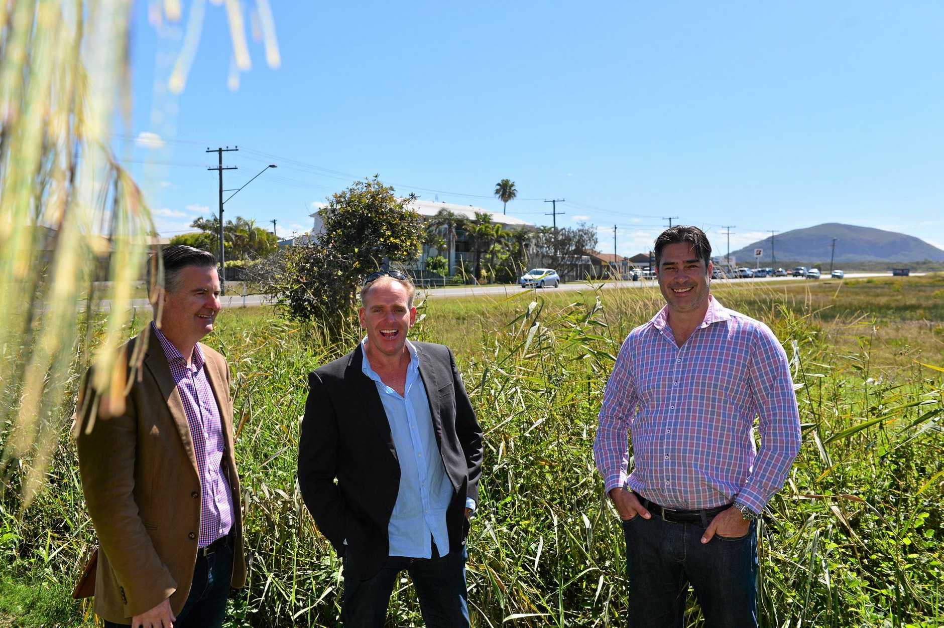 The 5.5 hectare development site near the airport at Marcoola. Falcon Projects director Damon Falcongreen (right) with Cr Jason O'Pray (centre) and Andrew Stevens of Project Urban.  Photo: John McCutcheon / Sunshine Coast Daily