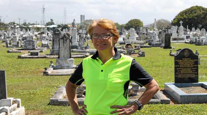 Mackay and District Gravesite Maintenance owner Sandra Salisbury at Mackay Cemetery.