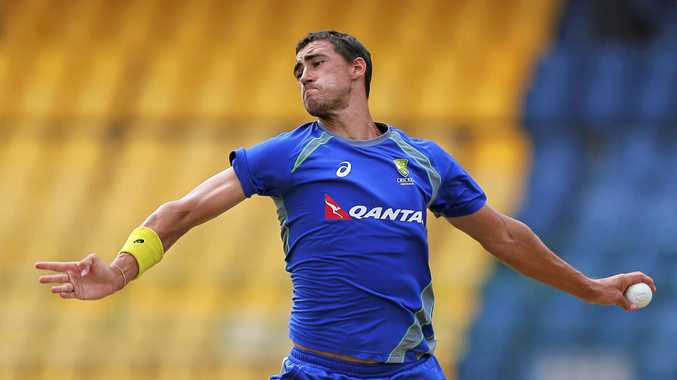 Australian fast bowler Mitchell Starc during a practice session in Colombo, Sri Lanka.