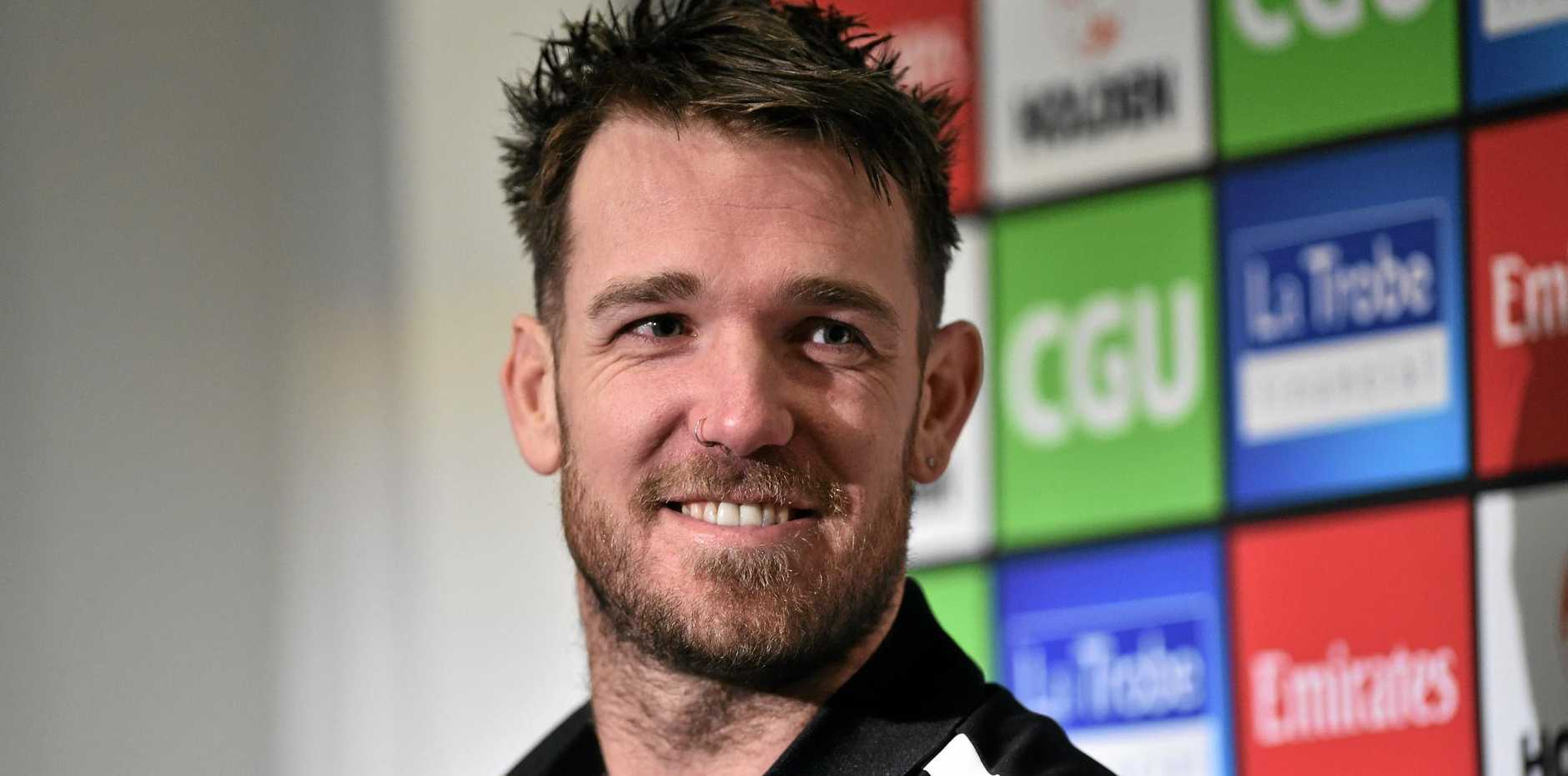Collingwood Magpies player Dane Swan announces his retirement at the Glasshouse in Melbourne, Tuesday, Aug. 23, 2016. The 2011 Brownlow medallist announced on Tuesday he would not play on in 2017, ending his 258-game career with the Magpies. (AAP Image/Julian Smith) NO ARCHIVING