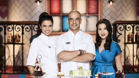 Gigi Falanga, left, joins hosts Adriano Zumbo and Rachel Khoo on the TV series Zumbo's Just Desserts.