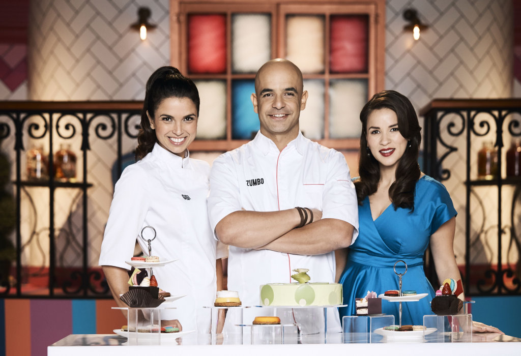 Gigi Falanga, left, joins hosts Adriano Zumbo and Rachel Khoo on the TV series Zumbo's Just Desserts.