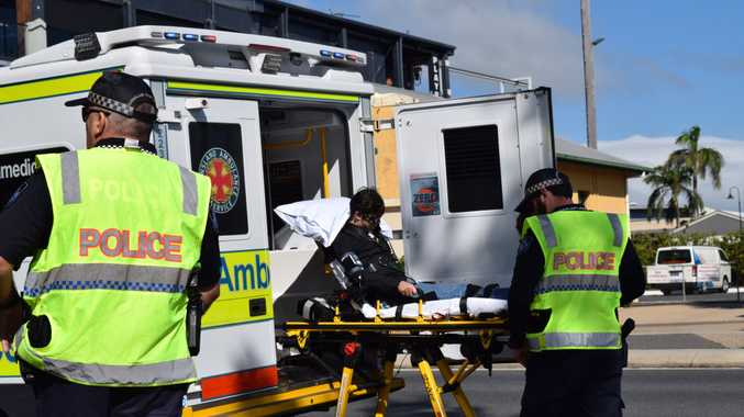 The cyclist being loaded into the ambulance after an incident with a vehicle on the corner of Sydney and River Street.