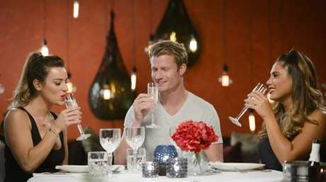 The Bachelor Richie Strahan, centre, pictured with 'bachelorettes' Rachael Gouvignon and Noni Janur.