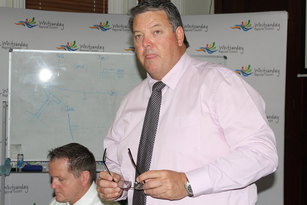 Mayor Andrew Willcox at today's council meeting in Bowen. Photo Peter Carruthers / Whitsunday Times