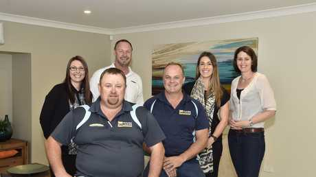 The team at Top of the Range Builders in their Nelson St display home including (front) Stephen Matthews (left) and Gary Lange. Back; Jena Schnitzerling, Evan Andrews, Tammy Thomas and Vanessa Walker.