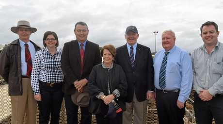 Governor-General Peter Cosgrove and his wife Lady Lynne Cosgrove with councillors at the Roma saleyards.