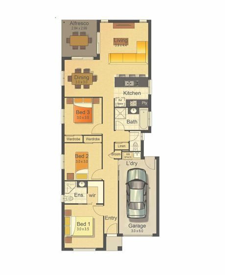 The floor plan of a home on 250m2.