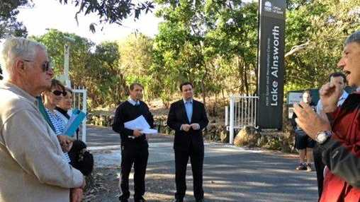 BATTLE FOR ROAD: Lennox Head's Stop the Lake Road Closure committee spokesperson Pip Carter (back, left) with NSW Minister for Sport, Stuart Ayres who has described the decision to close the road as odd.