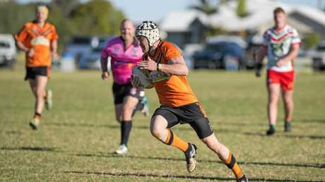 TRY TIME: Souths captain-coach Daniel Holmes on the way to the try line against Pittsworth last Sunday.