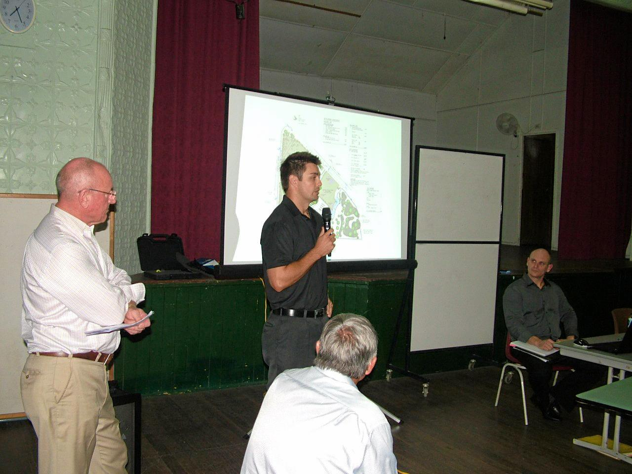 Anthony Zipf, son of proposed tourist park developer Peter Zipf, addresses an earlier public meeting in Cooroy.