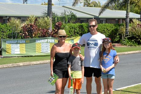 Libby, Xavier, Brad and Madison Howe from Victoria were holidaying in Airlie Beach and travelled down for the one-day game. Photo Madolyn Peters / Daily Mercury
