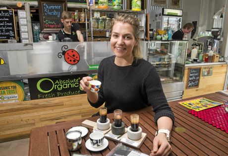 COFFEE TASTER: Homegrown Health barista Rhiannon Wieck serves up the coffee tapas.