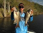 GREAT CATCH: A keen angler with some solid bass from Lake Borumba.