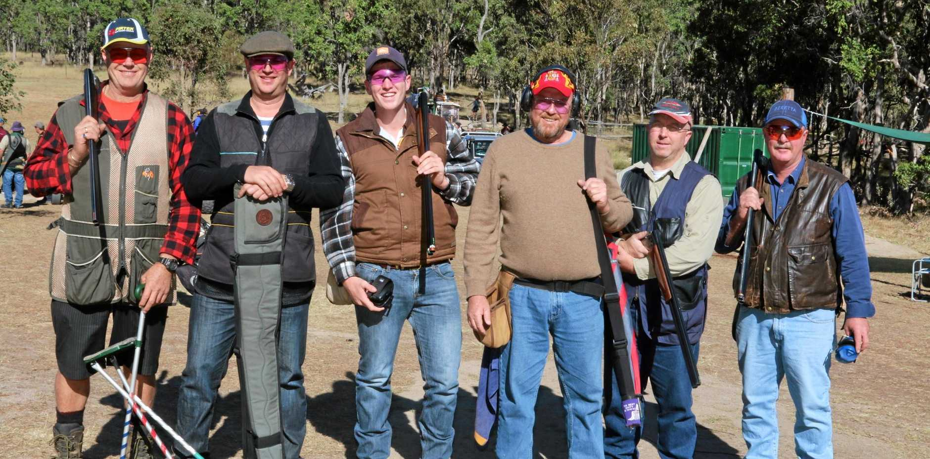 ON TARGET: Clive Salmond, Nick Long, Lachlan Cowie, Jim Johnson, Adrian Leech and Peter Cowrie enjoy a day at the Cherrabah Sporting Clays complex.