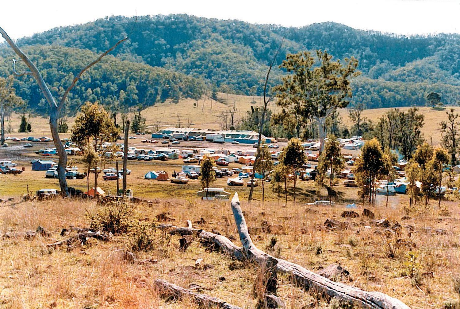 A view of the 1984 Muster, the last year before the Muster moved to Amamoor State Forest.