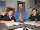 INDEPENDENT FORUM: Principal Pete Keen with fourth graders Jack Barnett and Kya Dulhuntry.