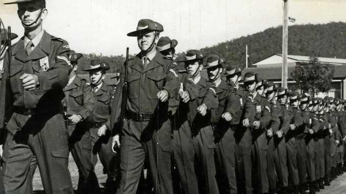 Private Ellis 'Toby' Trebilco (10th on the right) marching in the 9th Battalion in 1971.