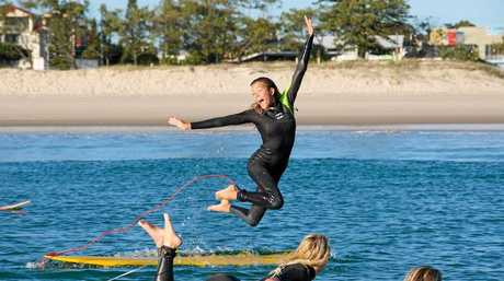 ZEST FOR LIFE: Pacha leading the paddle-out for a Gold Coast World Surfing Reserve last year on International Surf Day.