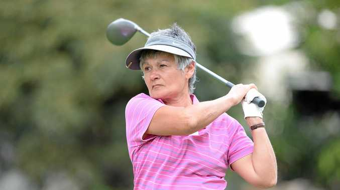 HITTING OUT: Virginia Urmston from Melbourne at the final round of the Tropic of Capricorn Vetrans Golf Carnival at the Rockhampton Golf Club.