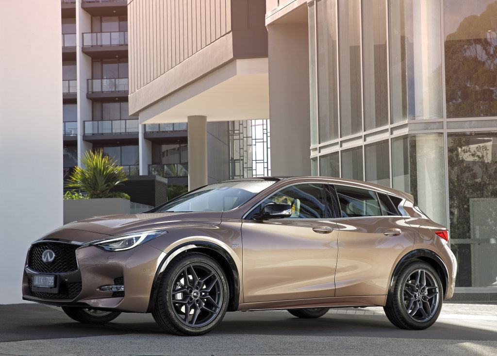 EDGY CROSSOVER: Striking looks, decent kit and plenty of premium features give the German small SUVs something to think about as the Infiniti Q30 joins the party.