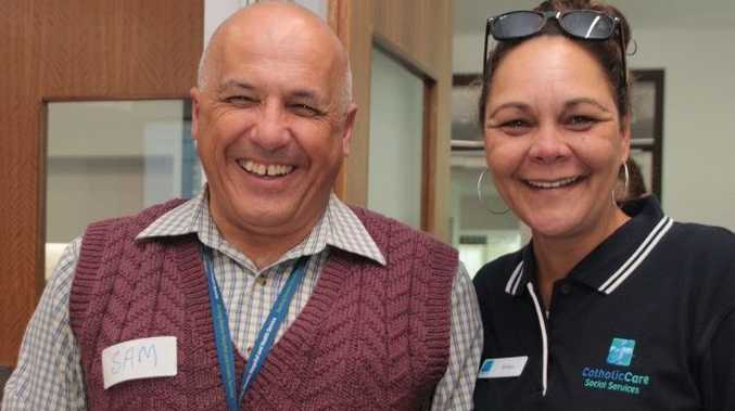 All smiles at Volunteering Queensland's networking event are Sam Savva and Robyn Silcox.
