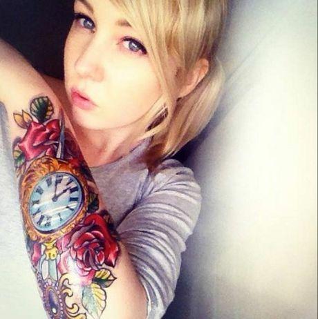Emma Egan's forearm tattoo by Ryan Dickson at Dark Martyr Tattoo