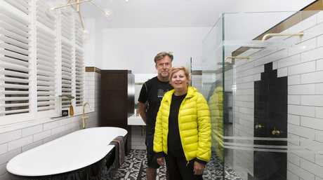 Dan and Carleen in their master en-suite in a scene from The Block.