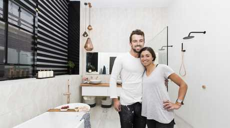 Will and Karlie in their master en-suite in a scene from The Block.