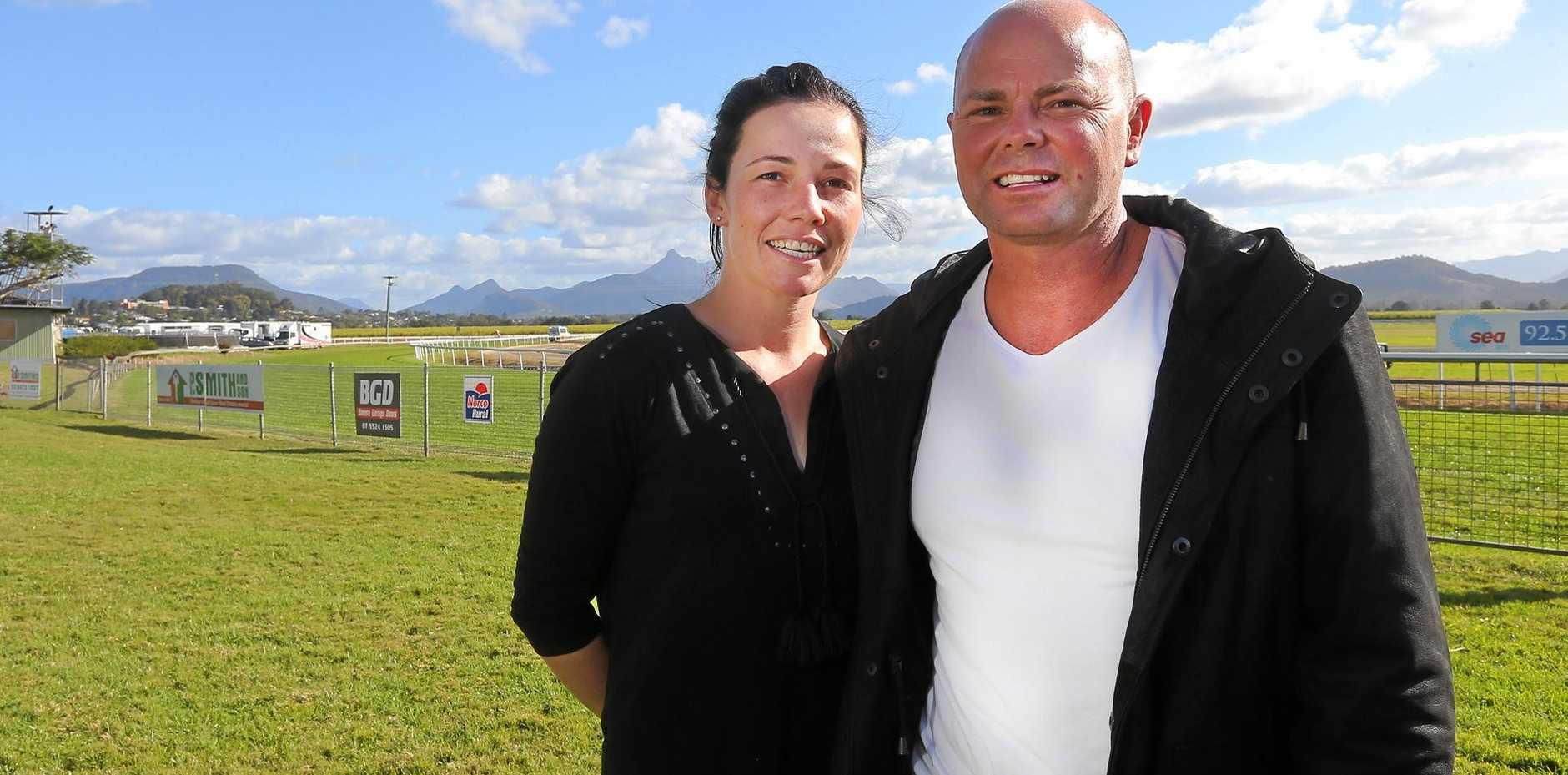 TRAINING MASTERS: Matt and Keira Dunn at a Murwillumbah Racecourse race day.