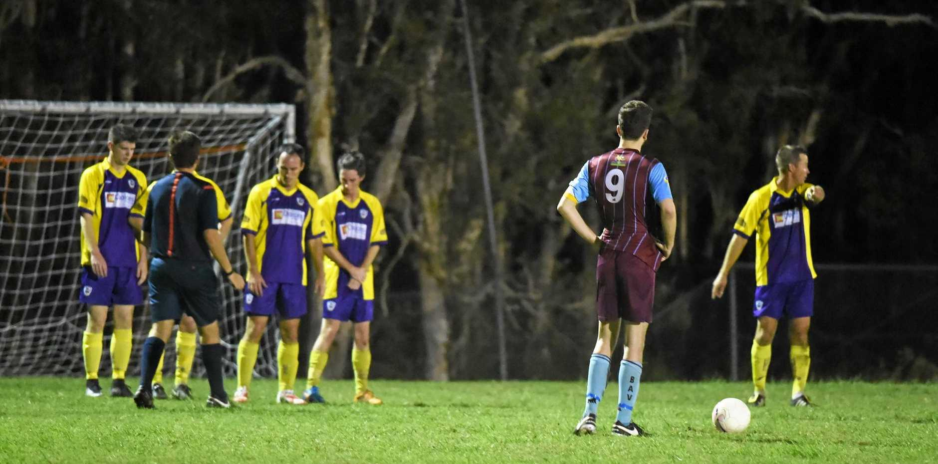 FINAL SHOT: Brothers Aston Villa's Blake O'Brien lines up a free kick against the Warriors.