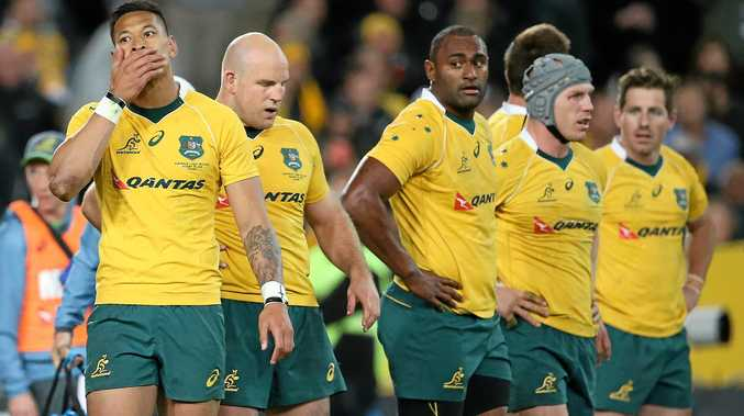 WHAT NOW?:The Wallabies look lost during last week's thrashing by the All Blacks in Sydney.