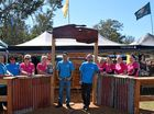 """The crew at \""""The Boozy Chuck Wagon Bar\"""" at the 2016 Gympie Muster."""