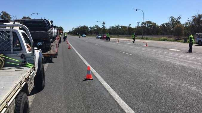 A police operation on the Warrego Hwy at Jondaryan.