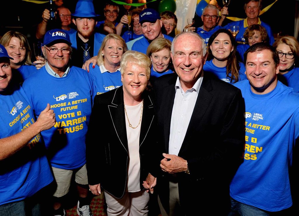 Warren Truss pictured with wife Lyn Truss and supporters at his campaign party after another comfortable election win in 2013. It was the last time Mr Truss contested the seat of Wide Bay.