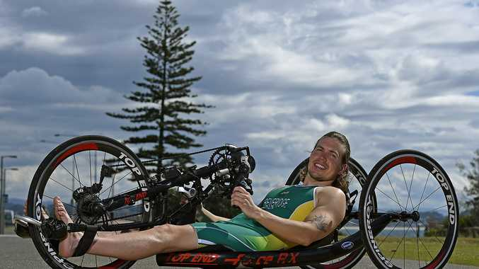 Nic Beveridge at Coolangatta Surf Club following the announcement of the paratriathlon team to compete in Rio. Photo courtesy Australian Paralympic Committee.