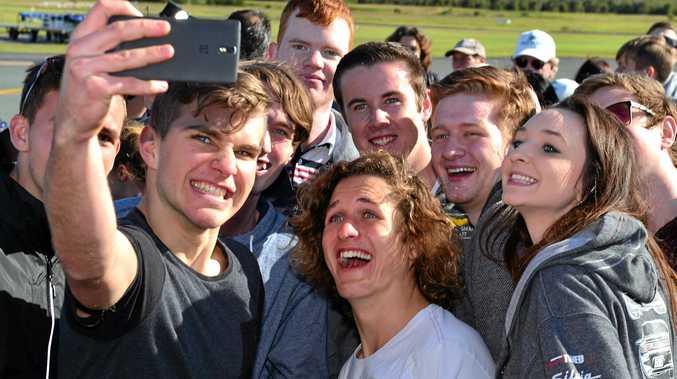 Lachie with his Nambour Christian College mates, Jonny Vine, Matthew Wall, Jesse Stoddart, Ben Pesu, Mitchell Mathieson, Ben Ward, Ebony Sale and Liam Bates.