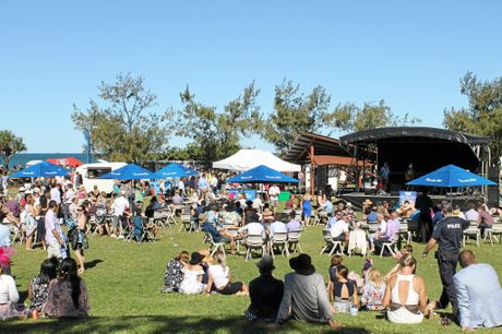 The stage above the beach at the Mackay Airport Beach Horse Race Day.