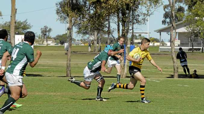 Goondiwindi winger Sam Bursle on the way to scoring his team's opening try against Condamine in today's Risdon Cup elimination final at John Ritter Oval.