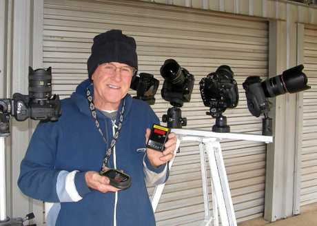 Kingaroy astronomer James Barclay with some of the equipment he will use for the night sky survey.