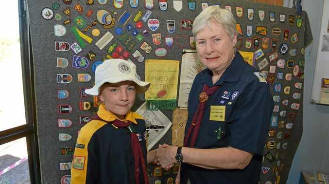 Scouting in Palmwoods celebrates 100 years.Mila Shervey and Irene Underwood.