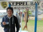 GOOD CATCH: Tristen Dunn with 4kg King Salmon and 4kg Barramundi at the Tightlines competition this weekend.