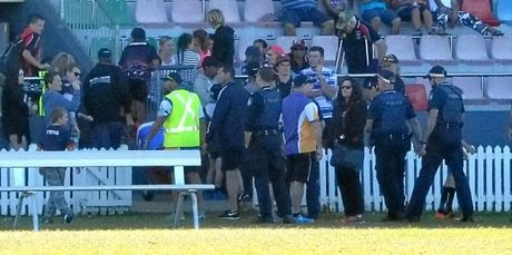 Bundaberg police on the scene at Salter Oval after a up to 100 people where invovled in a brawl at a junior game.