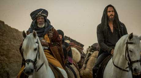 Morgan Freeman and Jack Huston in a scene from the movie Ben-Hur.