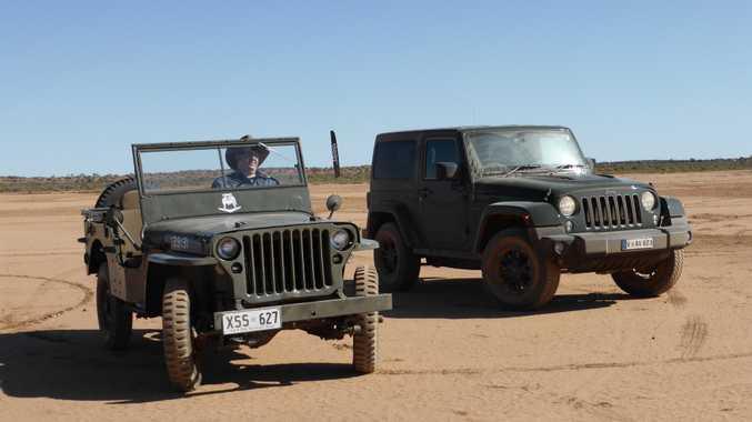 1942 Willys MB beside its modern interpretation, the 75th Anniversary Jeep Wrangler. Photo: Iain Curry
